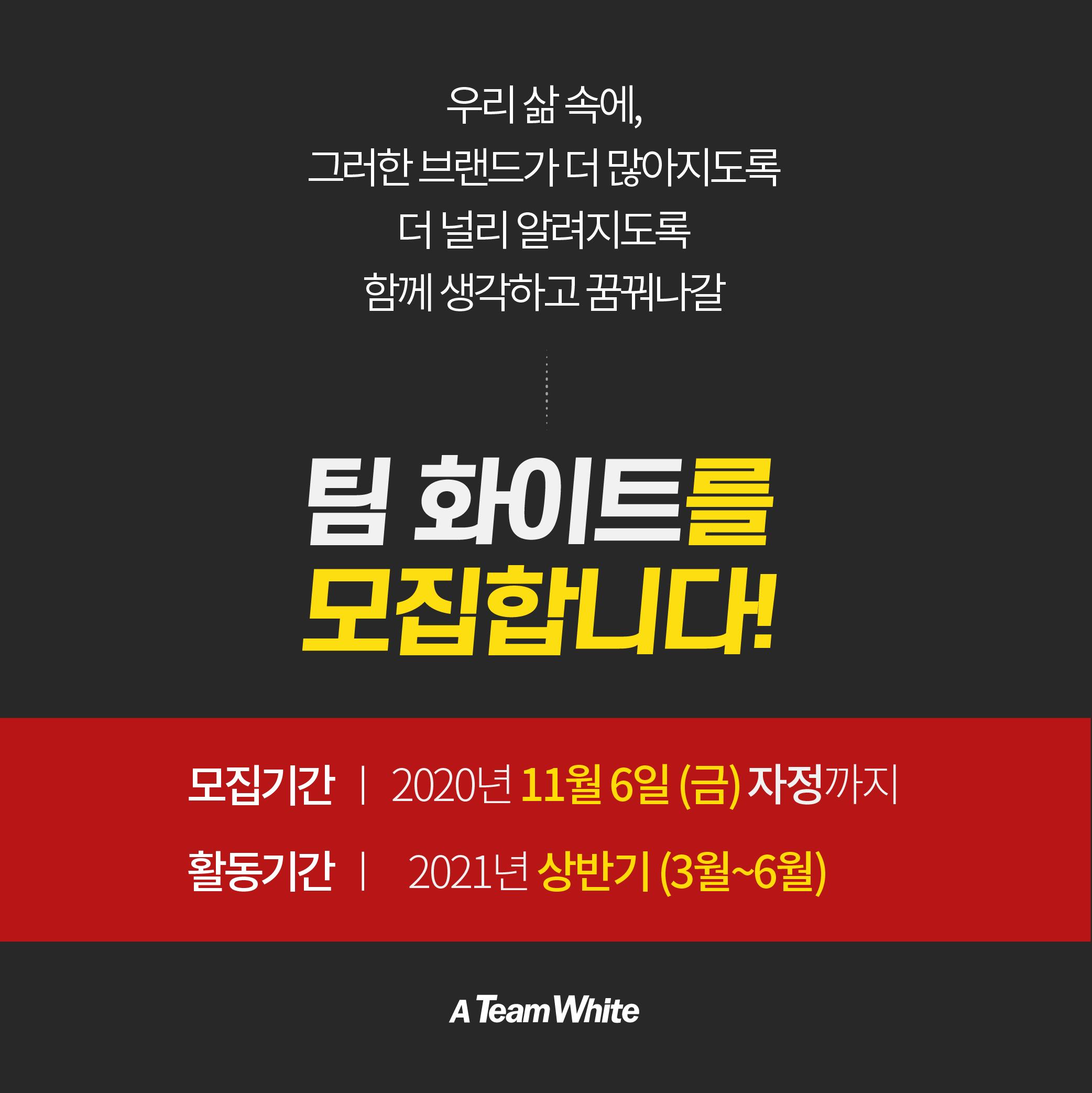 [한국소비자포럼] 팀 화이트 20기 모집 : 브랜드로 세상을 바꾸자 !(~11.27)