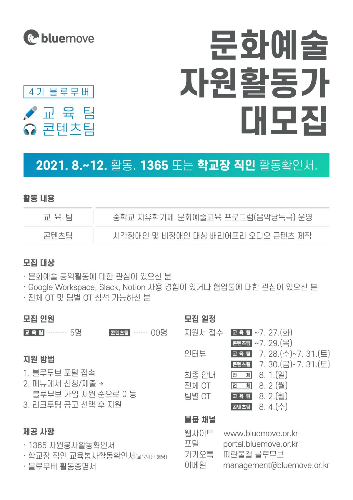 문화예술 자원활동가 '블루무버' 4기 교육팀, 콘텐츠팀 리크루팅