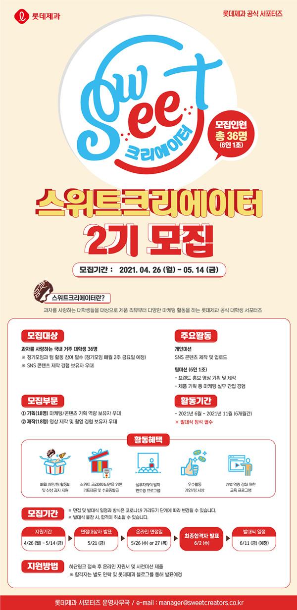 롯데제과 공식 서포터즈 스위트 크리에이터 2기 모집