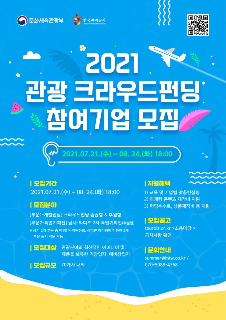 2021년 관광 크라우드펀딩 지원사업 참여기업 모집